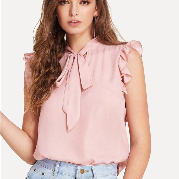 655f96e1db SHEIN NWOT XS TIE NECK RUFFLED SLEEVE BLOUSE. M_5c177a72df030768f10a8215
